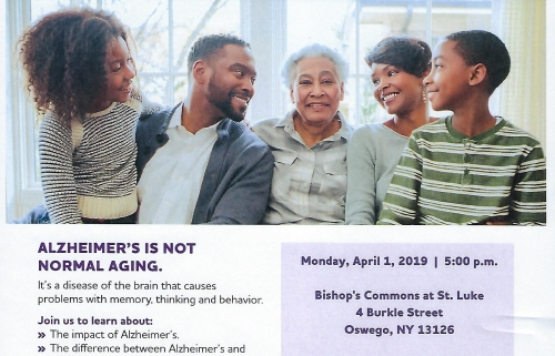 "Alzheimer's Association Educational Program - ""Understanding Alzheimer's and Dementia"" at Bishop's Commons in Oswego on April 1"